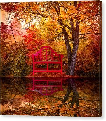 Meet Me At The Pond Canvas Print by Debra and Dave Vanderlaan