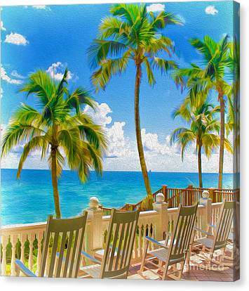 Meet Me On The Porch By The Beach Canvas Print by Mary Ann Tardif