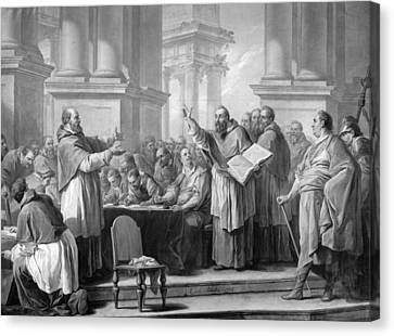 Meeting Of St. Augustine And The Donatists Oil On Canvas Bw Photo Canvas Print by Carle van Loo