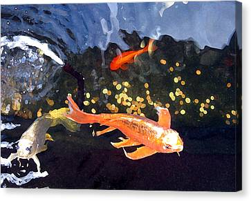 Meetings On The Riverbank Canvas Print by Patricia Januszkiewicz