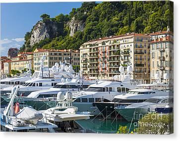 Mega Yachts In Port Of Nice France Canvas Print by Elena Elisseeva