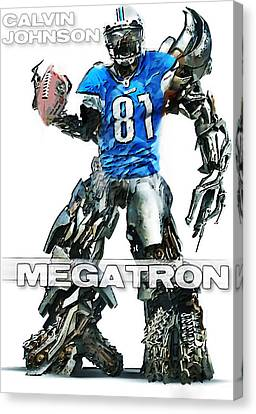 Megatron-calvin Johnson Canvas Print by Peter Chilelli