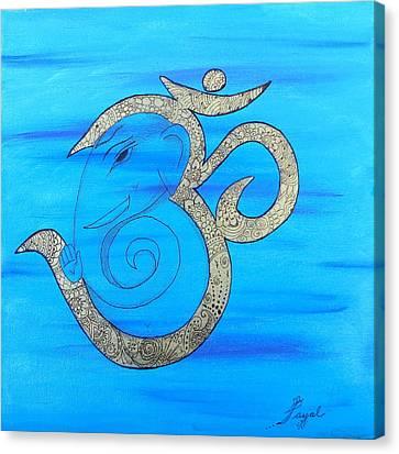 Mehndi Ganesh In Ohm  Canvas Print by Artistic Indian Nurse