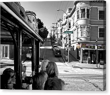 Mei Fung Grocery From Hyde St Cable Car - San Francisco Canvas Print by Daniel Hagerman