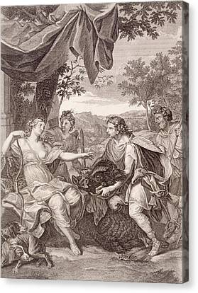 Meleager Presents The Boar's Head To Atalanta Canvas Print by Bernard Picart