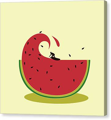 Melon Splash Canvas Print by Neelanjana  Bandyopadhyay