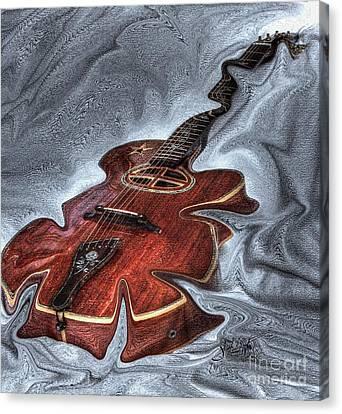 Melted Digital Guitar Art By Steven Langston Canvas Print by Steven Lebron Langston