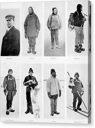 Members Of The British Antarctic Expedition At The Start Of The Journey Canvas Print by English School