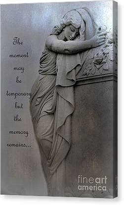 Memorial Art Statue - Haunting Cemetery Statue Inspirational Art Canvas Print by Kathy Fornal