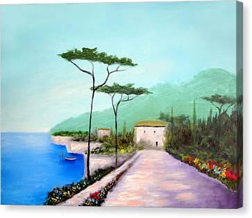 Memories  Of Lake Como Canvas Print by Larry Cirigliano
