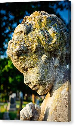 Memphis Elmwood Cemetery - Boy Angel Vertical Canvas Print by Jon Woodhams