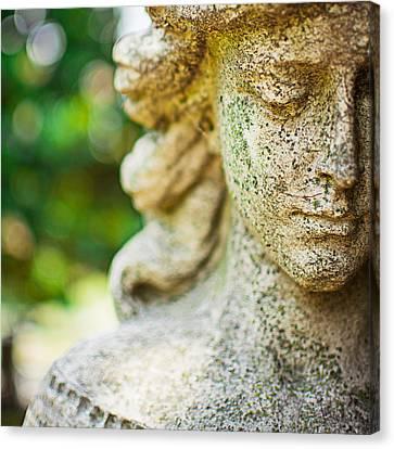 Memphis Elmwood Cemetery - Girl With Cross Square Canvas Print by Jon Woodhams