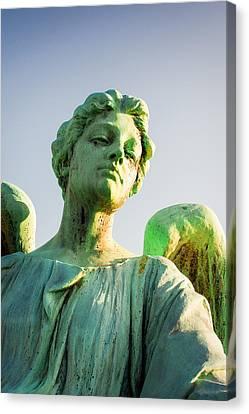 Memphis Elmwood Cemetery - Patinated Angel Canvas Print by Jon Woodhams