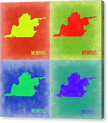 Memphis Pop Art Map 2 Canvas Print by Naxart Studio