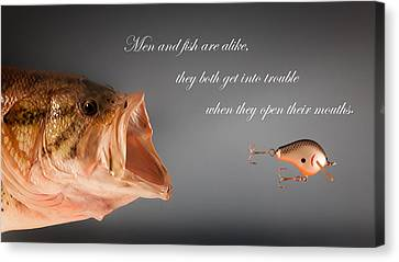 Men And Fish Canvas Print by Bill Wakeley