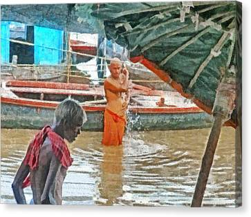 Men Bathing In The Ganges River Canvas Print by Digital Photographic Arts