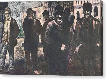 Men In Yellow Light Canvas Print by Kendall Kessler