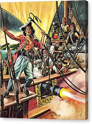 Men Of The Jolly Roger Canvas Print by Ron Embleton