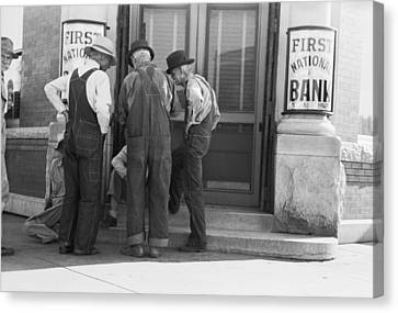 Men Talking On Bank Steps Canvas Print by Russell Lee