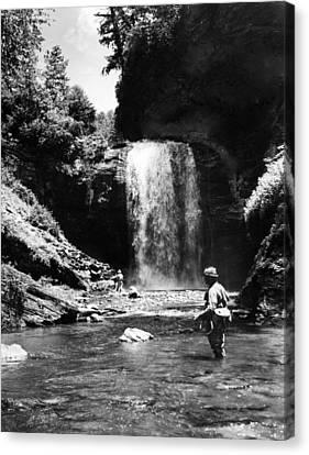 Men Trout Fishing Canvas Print by Retro Images Archive