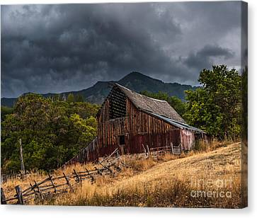 Mendon Utah Barn In Storm Canvas Print by Gary Whitton