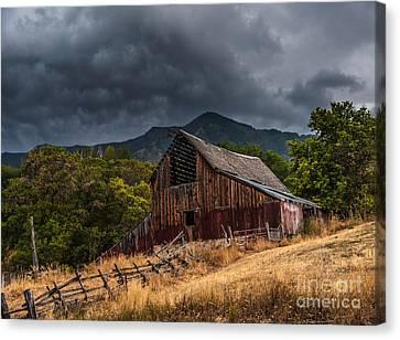 Mendon Utah Barn In Storm Canvas Print by Gary Whitton