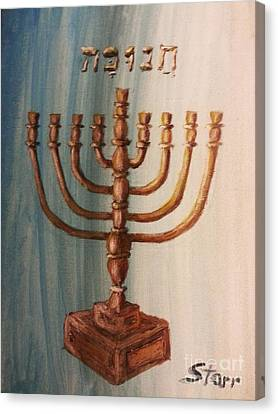 Menorah Gold Canvas Print by Irving Starr