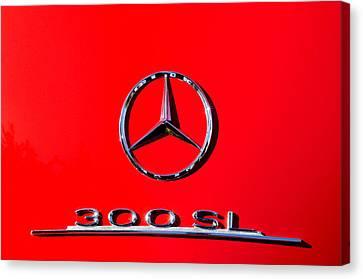 Mercedes 300 Sl Emblem -0121c Canvas Print by Jill Reger