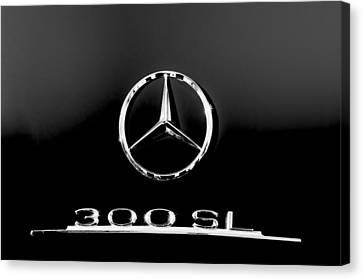 Mercedes-benz 300 Sl Emblem -0121bw Canvas Print by Jill Reger