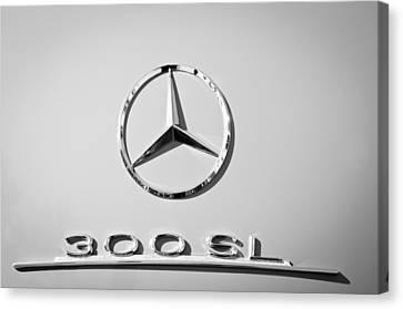 Mercedes-benz 300 Sl Emblem -0190bw Canvas Print by Jill Reger