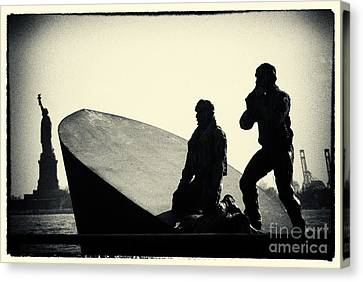 Merchant Mariners' Memorial And Statue Of Liberty New York City Canvas Print by Sabine Jacobs