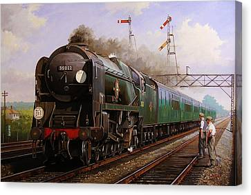 Merchant Navy Pacific At Brookwood. Canvas Print by Mike  Jeffries