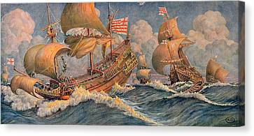 Merchant Ships Of 1640 Canvas Print by Robert Morton Nance