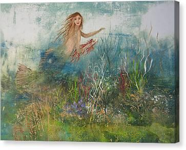 Mermaid In A Sea Garden Canvas Print by Nancy Gorr