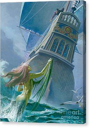 Mermaid Seen By One Of Henry Hudson's Crew Canvas Print by Severino Baraldi