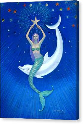 Mermaids- Dolphin Moon Mermaid Canvas Print by Sue Halstenberg