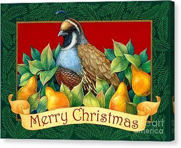 Merry Christmas Partridge Canvas Print by Randy Wollenmann