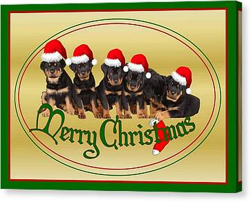 Merry Christmas Rottweiler Puppies Greeting Card Canvas Print by Tracey Harrington-Simpson