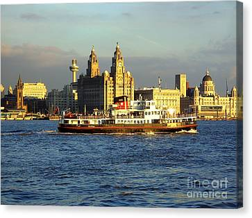 Mersey Ferry And Liverpool Waterfront Canvas Print by Steve Kearns