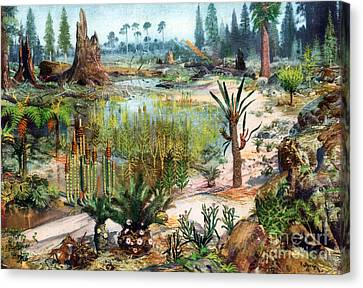 Mesozoic Landscape Canvas Print by Science Source
