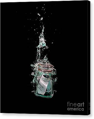 Message In Sinking Bottle Canvas Print by Simon Bratt Photography LRPS