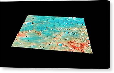 Messenger Landing Site Canvas Print by Nasa/johns Hopkins University Applied Physics Laboratory/carnegie Institution Of Washington