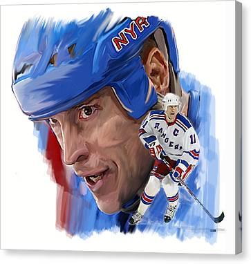 Messier II Mark Messier Canvas Print by Iconic Images Art Gallery David Pucciarelli