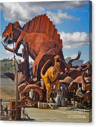 Metal Dinosaurs - 05 Canvas Print by Gregory Dyer