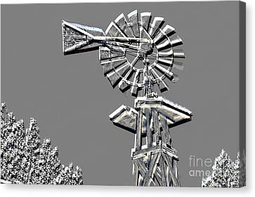 Metal Print Of Old Windmill In Gray Color 3009.03 Canvas Print by M K  Miller