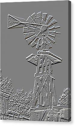 Metal Print Windmill Antique In Gray Color 3005.03 Canvas Print by M K  Miller