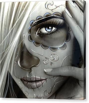 Sugar Skull - ' Metallic Decay ' Canvas Print by Christian Chapman Art