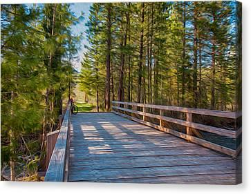 Methow Valley Community Trail At Wolf Creek Bridge Canvas Print by Omaste Witkowski