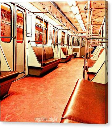 Sofa Canvas Print featuring the photograph #metro #underground #evening #sofa by Angelina Golovina