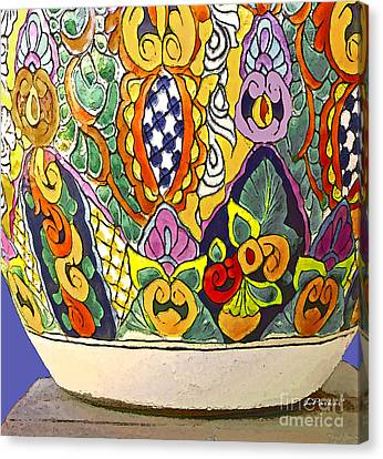 Mexican Ceramic Pottery Canvas Print by Linda  Parker